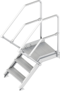 Alu Treppe mit Plattform 45° I 60 cm breit
